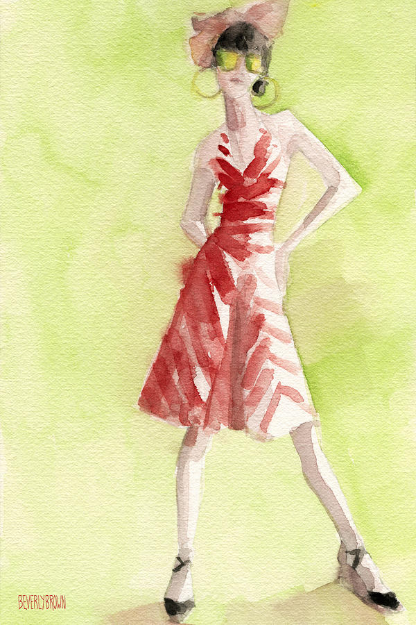 Red And White Striped Dress Fashion Illustration Art Print Painting  - Red And White Striped Dress Fashion Illustration Art Print Fine Art Print