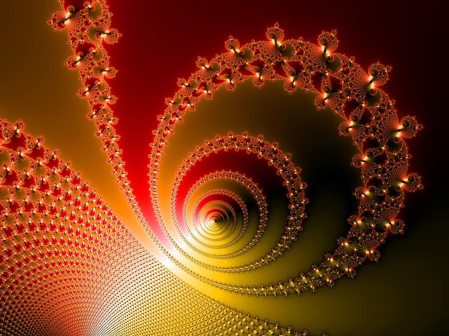 Red And Yellow Abstract Fractal Digital Art  - Red And Yellow Abstract Fractal Fine Art Print