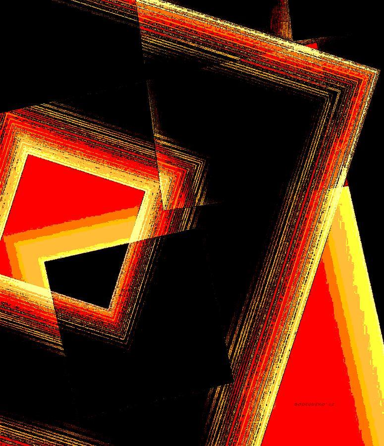 Black Digital Art - Red And Yellow Geometric Design by Mario Perez
