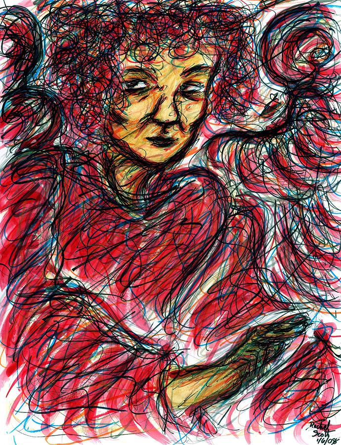Red Angel Drawing  - Red Angel Fine Art Print