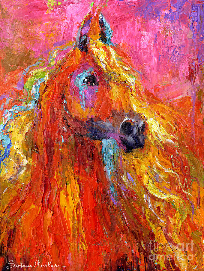 Red Arabian Horse Impressionistic Painting Painting  - Red Arabian Horse Impressionistic Painting Fine Art Print