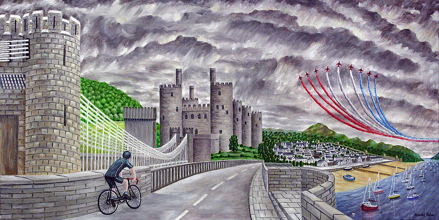 Red Arrows At 1000 Feet Over Conway Castle Painting  - Red Arrows At 1000 Feet Over Conway Castle Fine Art Print