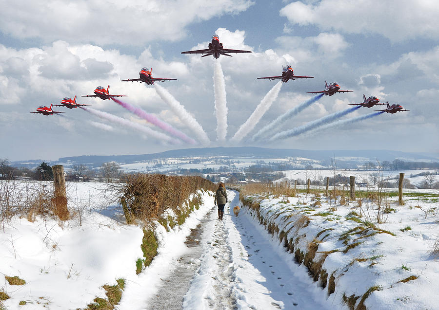 Red Arrows Over Epen Photograph
