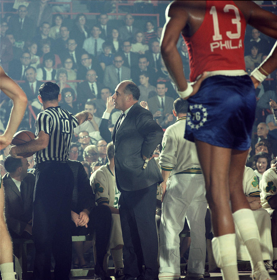 Red Auerbach Talks With Ref Photograph