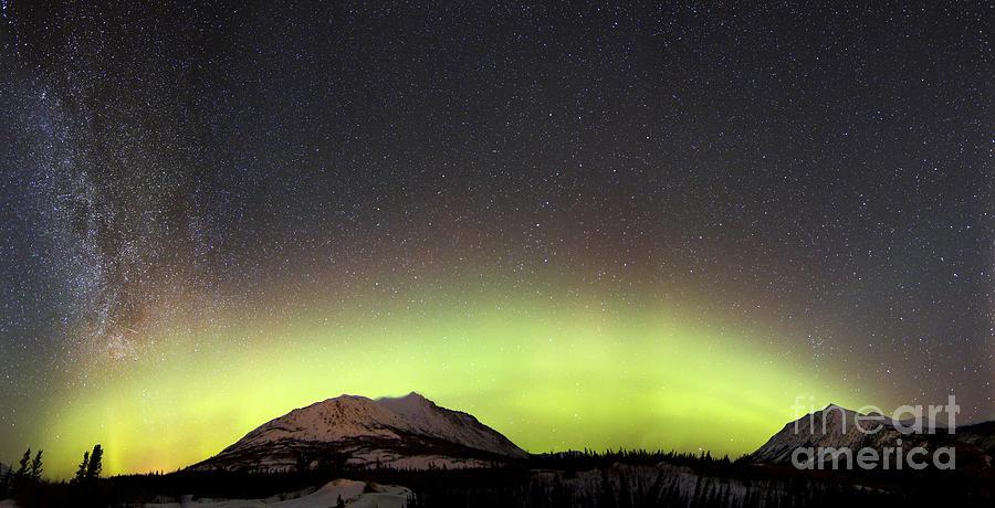 Red Aurora Borealis And Milky Way Photograph