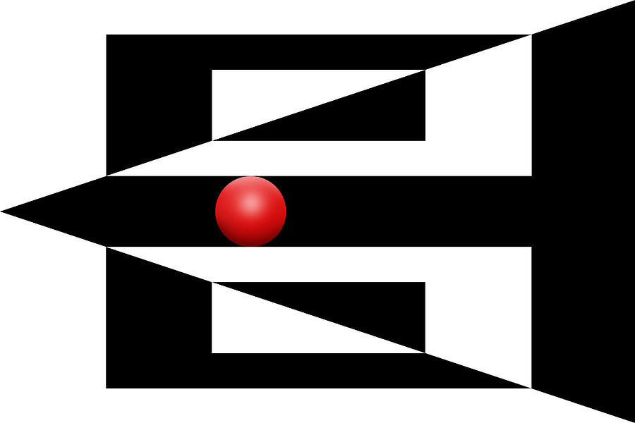Abstract Digital Art - Red Ball 3 by Mike McGlothlen