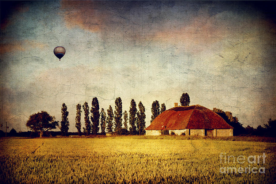 Red Barn - Field And A Balloon Photograph  - Red Barn - Field And A Balloon Fine Art Print
