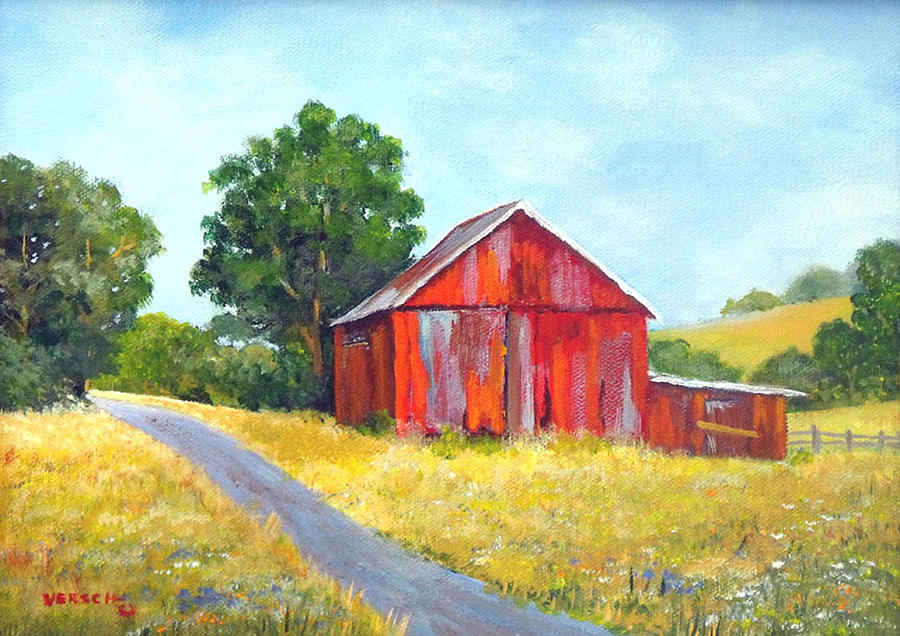 Red Barn Painting by Esther Marie Versch