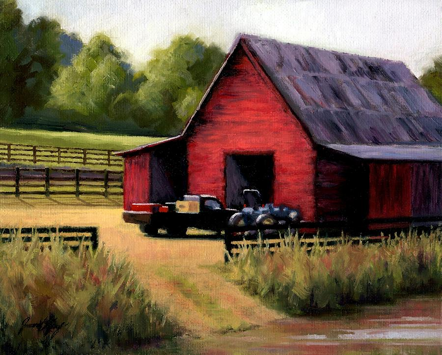 Barn Painting - Red Barn In Leipers Fork Tennessee by Janet King