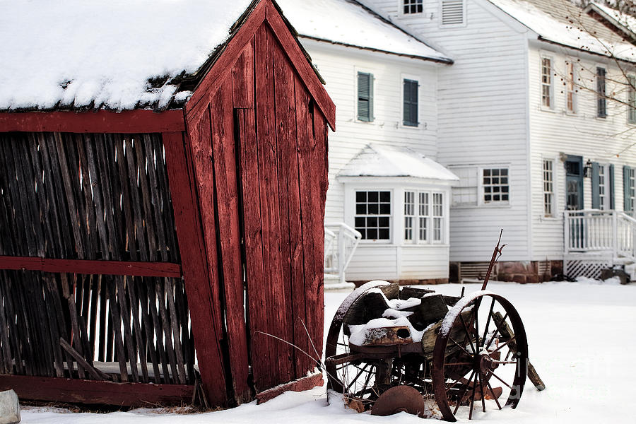 Red Barn In Winter Photograph - Red Barn In Winter by John Rizzuto