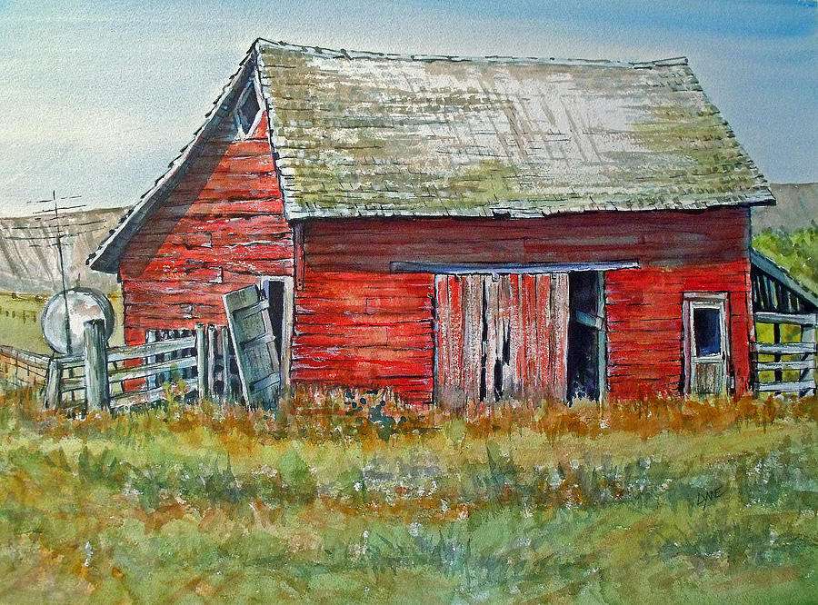 Red barn painting by lynne haines for Watercolor barn paintings