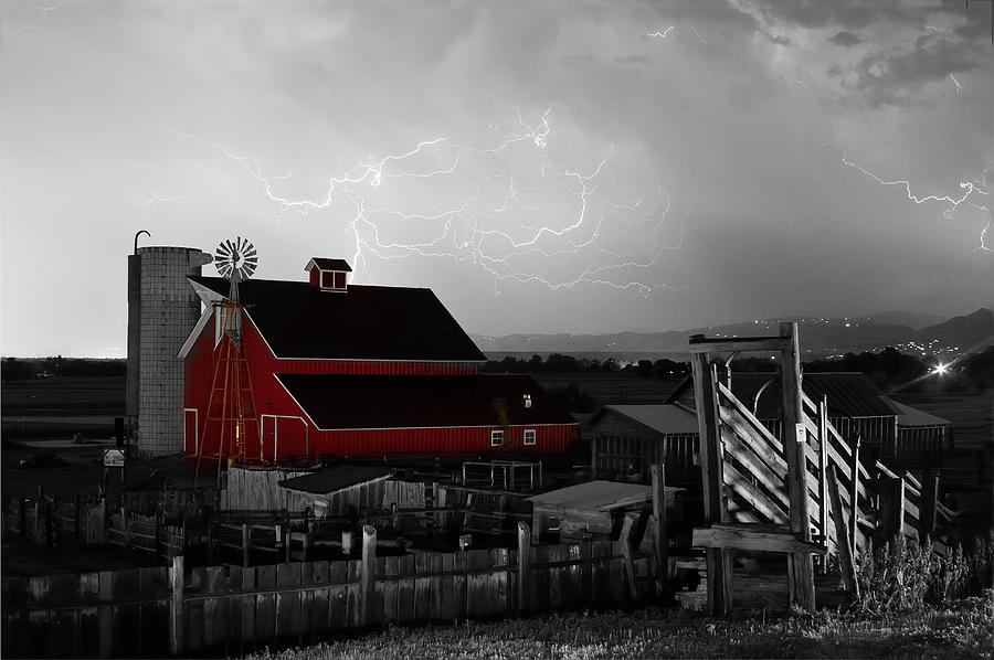 Red Barn On The Farm And Lightning Thunderstorm Bwsc Photograph