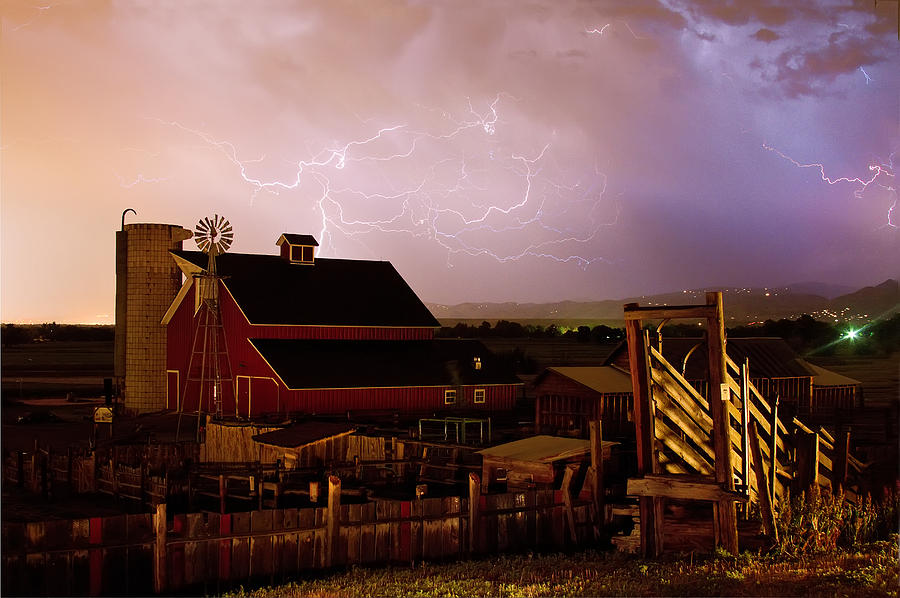 Red Barn On The Farm And Lightning Thunderstorm Photograph