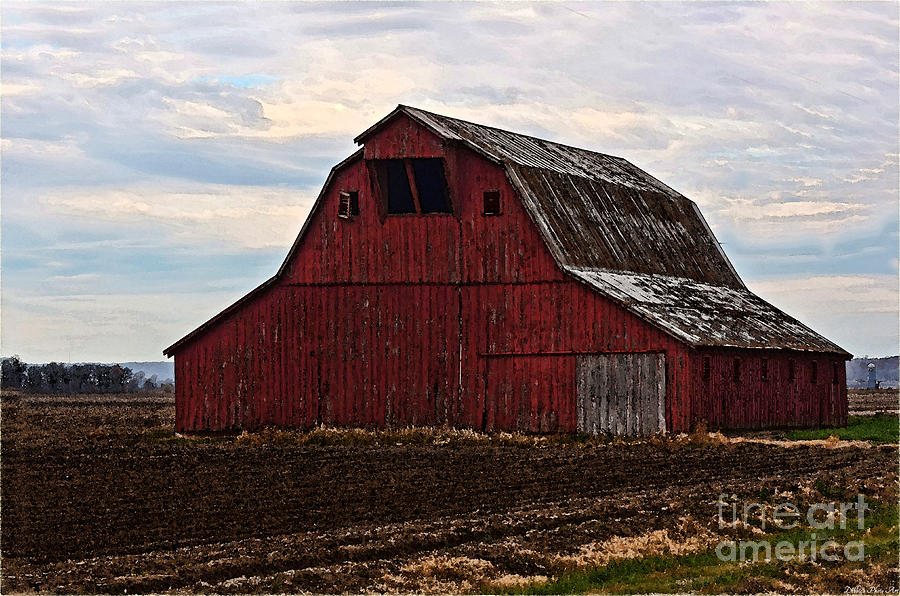 Red Barn Photoart Pyrography  - Red Barn Photoart Fine Art Print