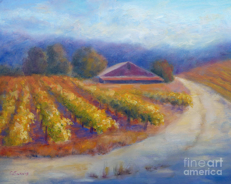 Red Barn Vineyard Painting  - Red Barn Vineyard Fine Art Print