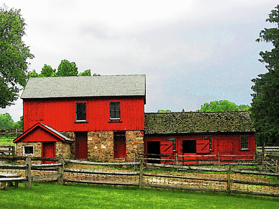 Red Barn With Fence Photograph