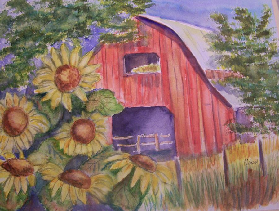 Red Barn With Sunflowers Painting