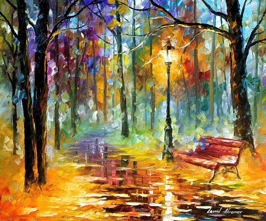 Red Bench - Palette Knife Oil Painting On Canvas By Leonid ...