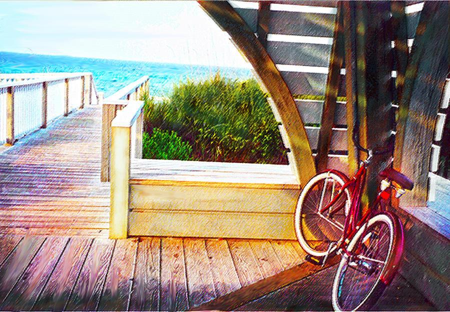 Red Bike On Beach Boardwalk Digital Art