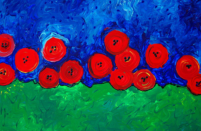 Red Bloom - Vibrant Flowers Abstract Floral Flower Red Poppies Green Poppy Field Painting  - Red Bloom - Vibrant Flowers Abstract Floral Flower Red Poppies Green Poppy Field Fine Art Print