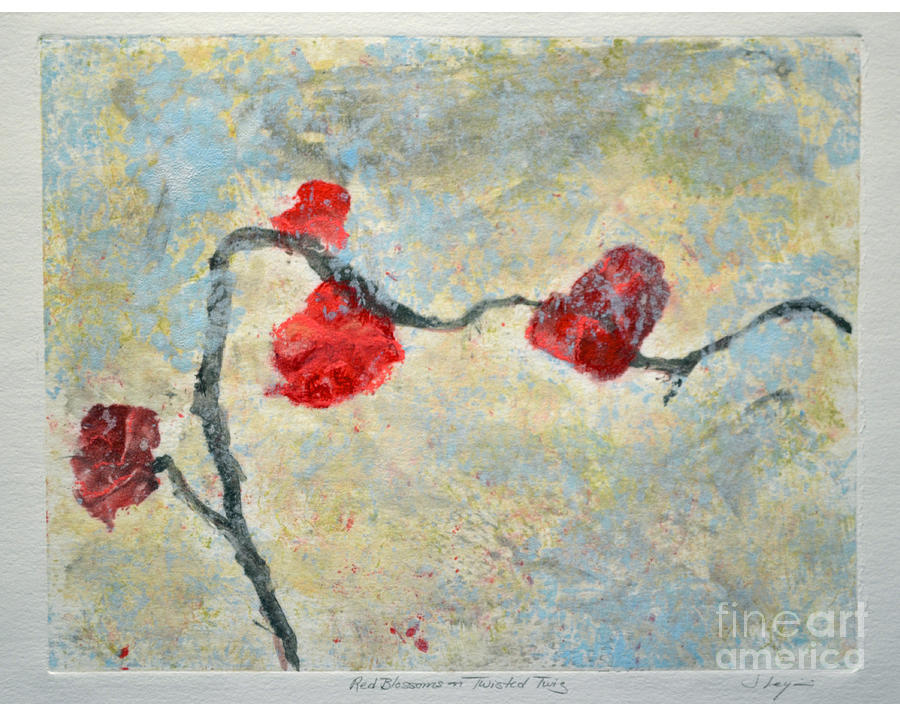 Red Blooms On Twisted Twig Mixed Media  - Red Blooms On Twisted Twig Fine Art Print