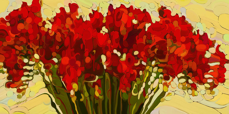 Red Bouquet Painting  - Red Bouquet Fine Art Print