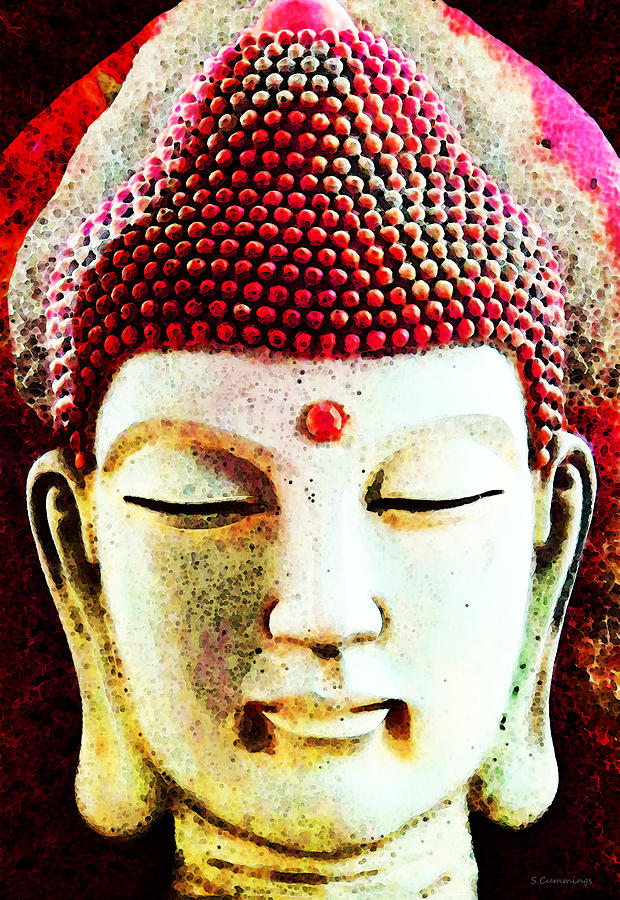 Red Buddha - Spiritual Meditation Art Print Painting
