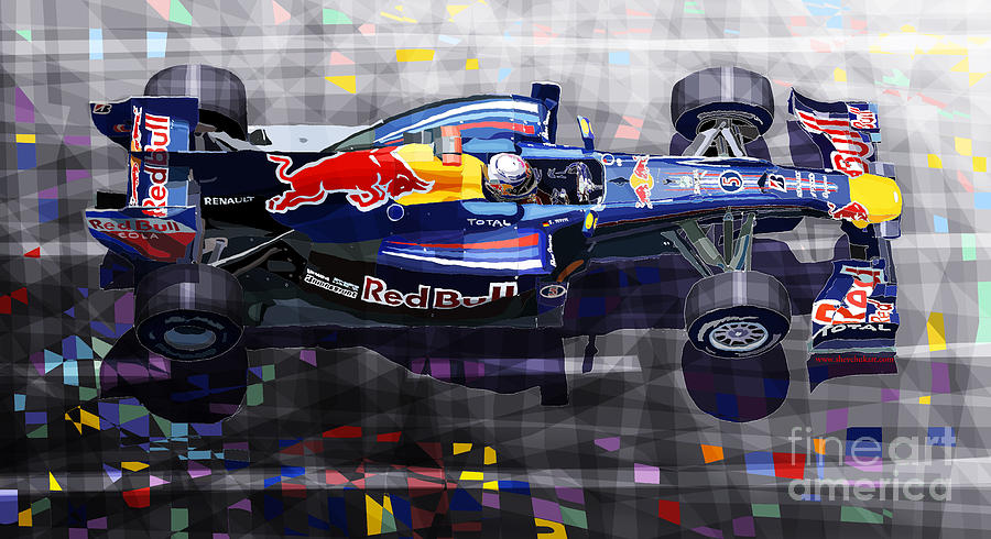 Red Bull Rb6 Vettel 2010 Digital Art  - Red Bull Rb6 Vettel 2010 Fine Art Print