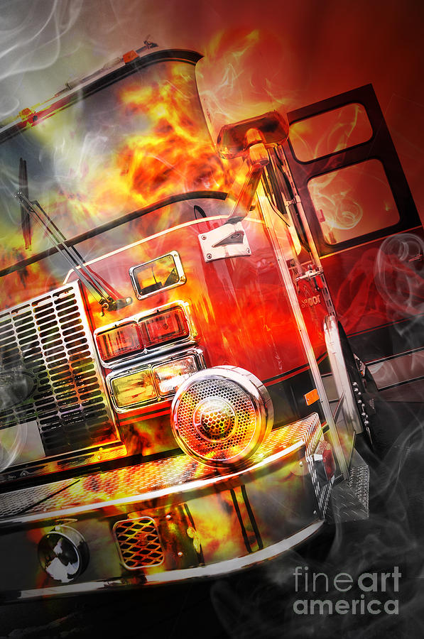 Red Burning Fire Rescue Truck With Flames Photograph  - Red Burning Fire Rescue Truck With Flames Fine Art Print