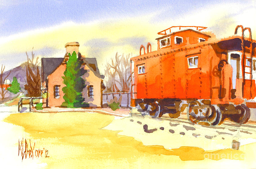 Red Caboose At Whistle Junction Ironton Missouri Painting