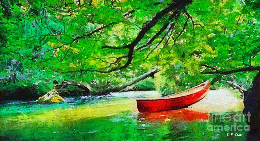 Red Canoe Painting  - Red Canoe Fine Art Print