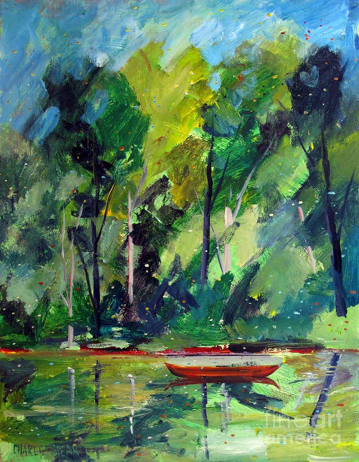 Canoe Painting - Red Canoe I I by Charlie Spear