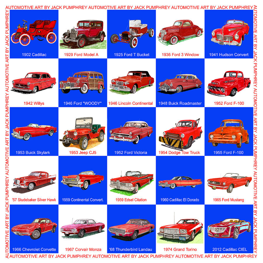 Red Cars Of America Painting  - Red Cars Of America Fine Art Print
