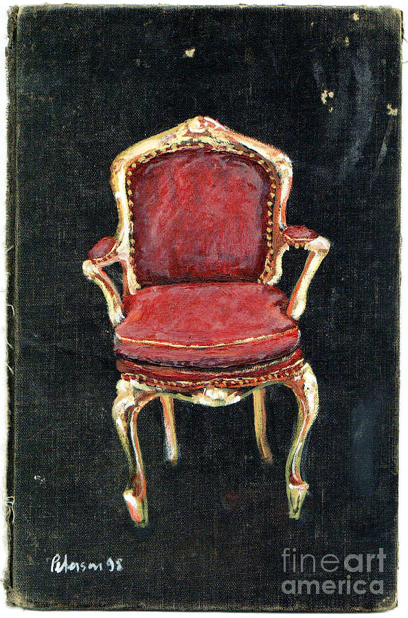 Red Louis Xiv Xv Chaise Velvet Seat Fetish Cathy Peterson Ventura California Listed Artist Watercolor Oil Paint Painting Modern Contemporary Impressionist Impressionism Expressionist Abstract Realism Minimalism Rural Scenes Fantasy Original Works Pen Pencil Graphic Colored Pencils India Ink Gouache Mixed Media House Coffee Fine Design Oeuvre Printmaking Westmont College Santa Barbara Cloth Panels Paper Drawings Sketches Experimental Ideas Dekalb 1964 Painter Interpretive Art  Painting - Red Chair by Cathy Peterson