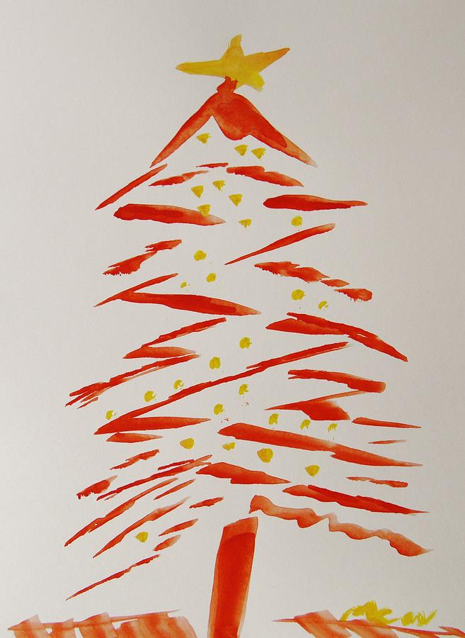 Red christmas tree with yellow star painting by mary carol for Red and yellow christmas tree
