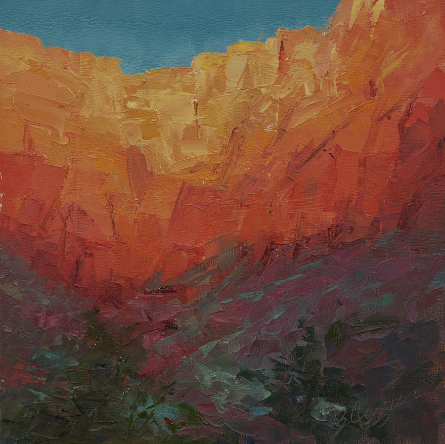 Red Cliffs Glow Painting  - Red Cliffs Glow Fine Art Print