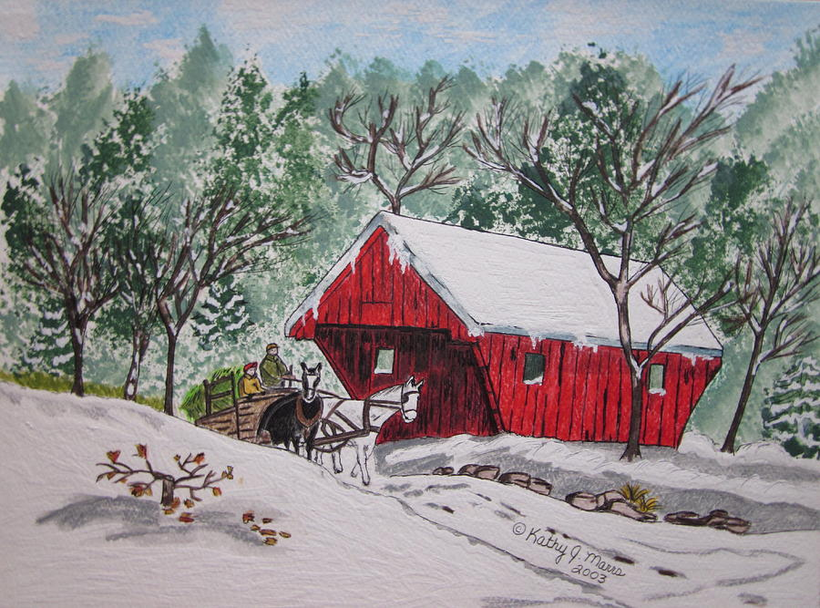 Red Covered Bridge Christmas Painting