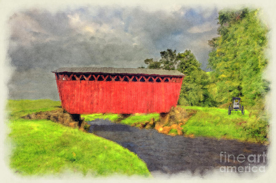 Red Covered Bridge With Car Photograph