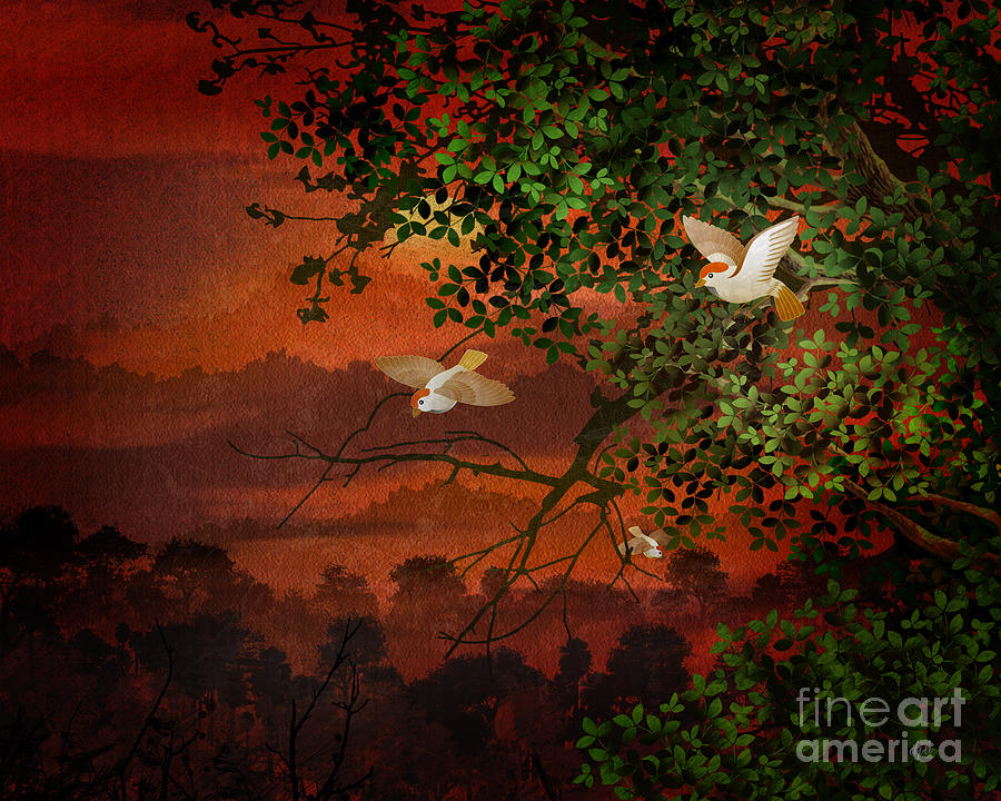 Red Dawn Sparrows Digital Art