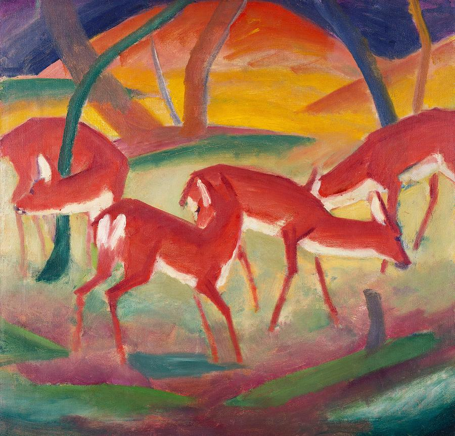 Blaue Reiter; Expressionist; German Expressionist; Red; Deer; Animal; Animals; Herd; Grazing; Landscape; Rural; Countryside; Nature; Wildlife; Sunset; Setting Sun; Calm; Peaceful; Tranquil; Atmospheric; Stylised Painting - Red Deer 1 by Franz Marc