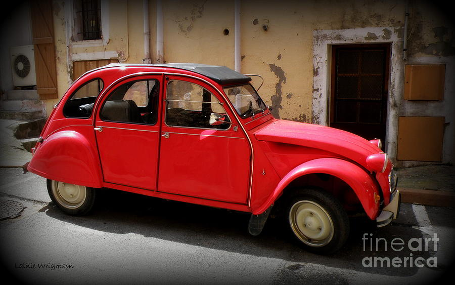 Car Photograph - Red Deux Chevaux by Lainie Wrightson
