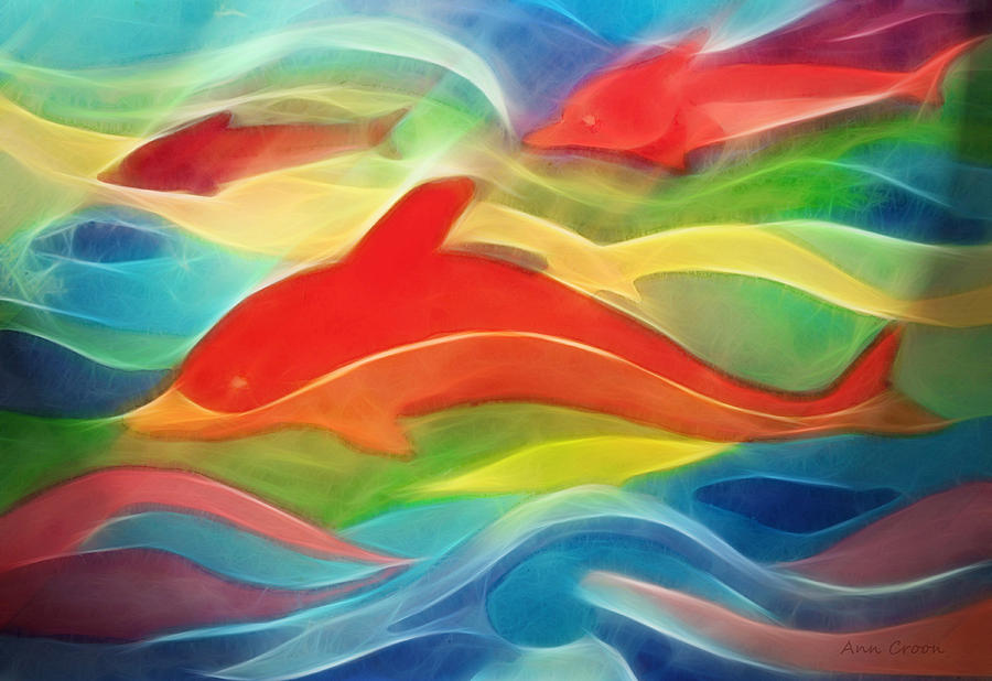 Red Dolphin Digital Art  - Red Dolphin Fine Art Print
