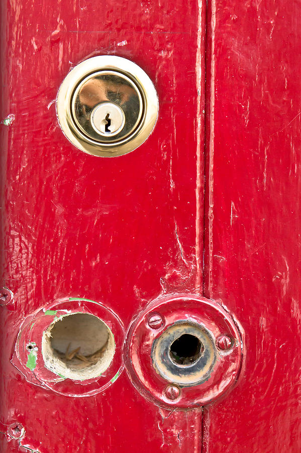 Anti-theft Photograph - Red Door Lock by Tom Gowanlock