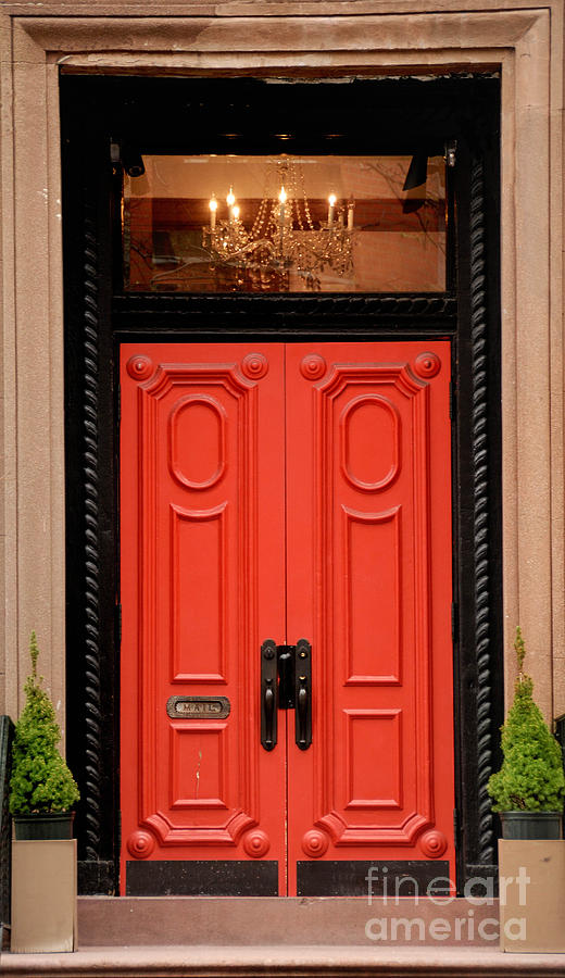 Red Door On New York City Brownstone Photograph  - Red Door On New York City Brownstone Fine Art Print