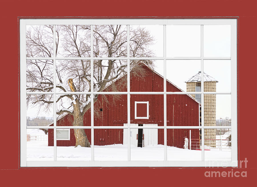 Red Farm House Picture Window Red Barn View Photograph