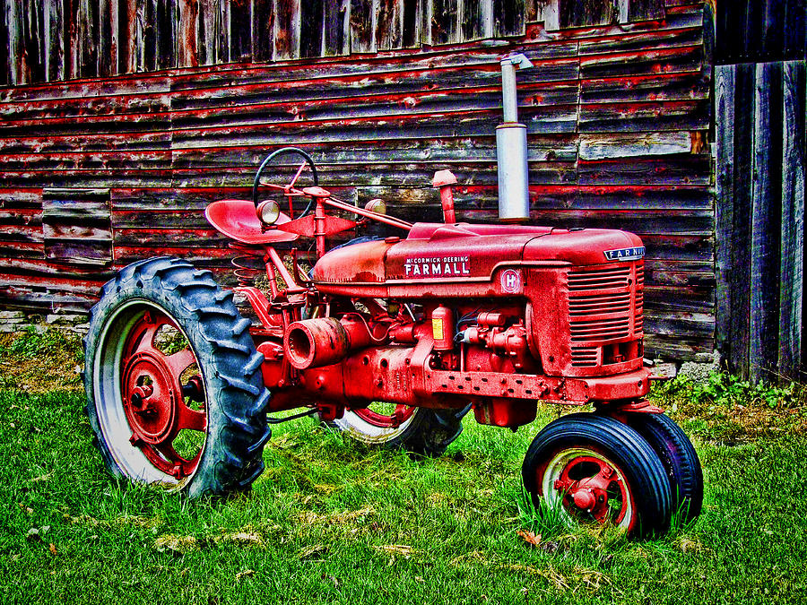 Red Farmall Tractor Hdr Style Painting by Elaine Plesser