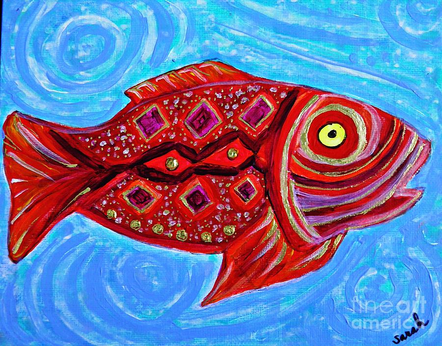 Red Fish Painting  - Red Fish Fine Art Print