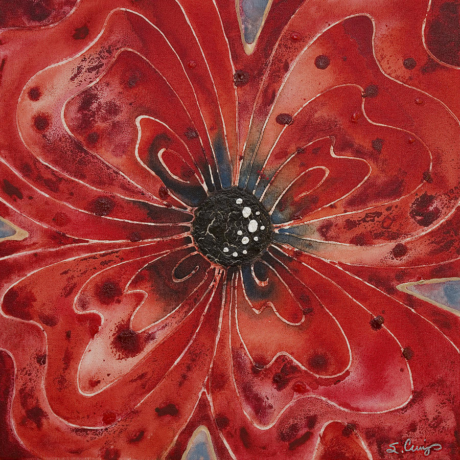 Red flower art the image kid has it for Fotos de cuadros abstractos sencillos