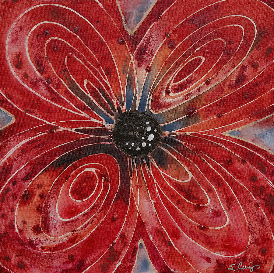 Flower Painting - Red Flower 2 - Vibrant Red Floral Art by Sharon Cummings