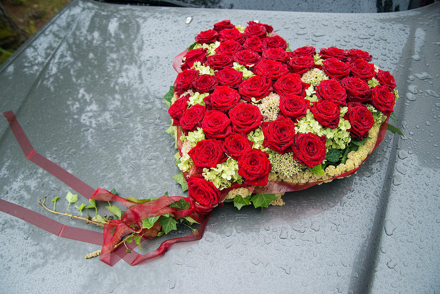 Red Flower Heart With Roses - Beautiful Wedding Flowers Photograph